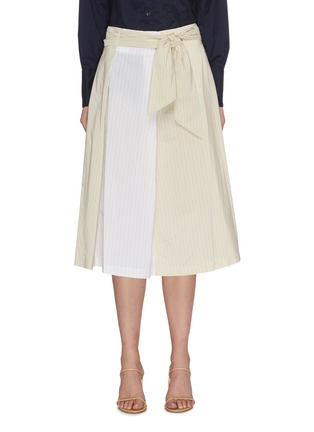 Main View - Click To Enlarge - BARENA - 'Arpa' Collaged Pinstripe A-line Midi Skirt