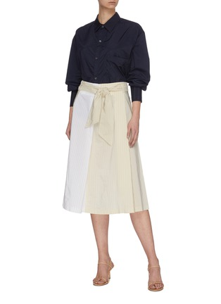 Figure View - Click To Enlarge - BARENA - 'Arpa' Collaged Pinstripe A-line Midi Skirt