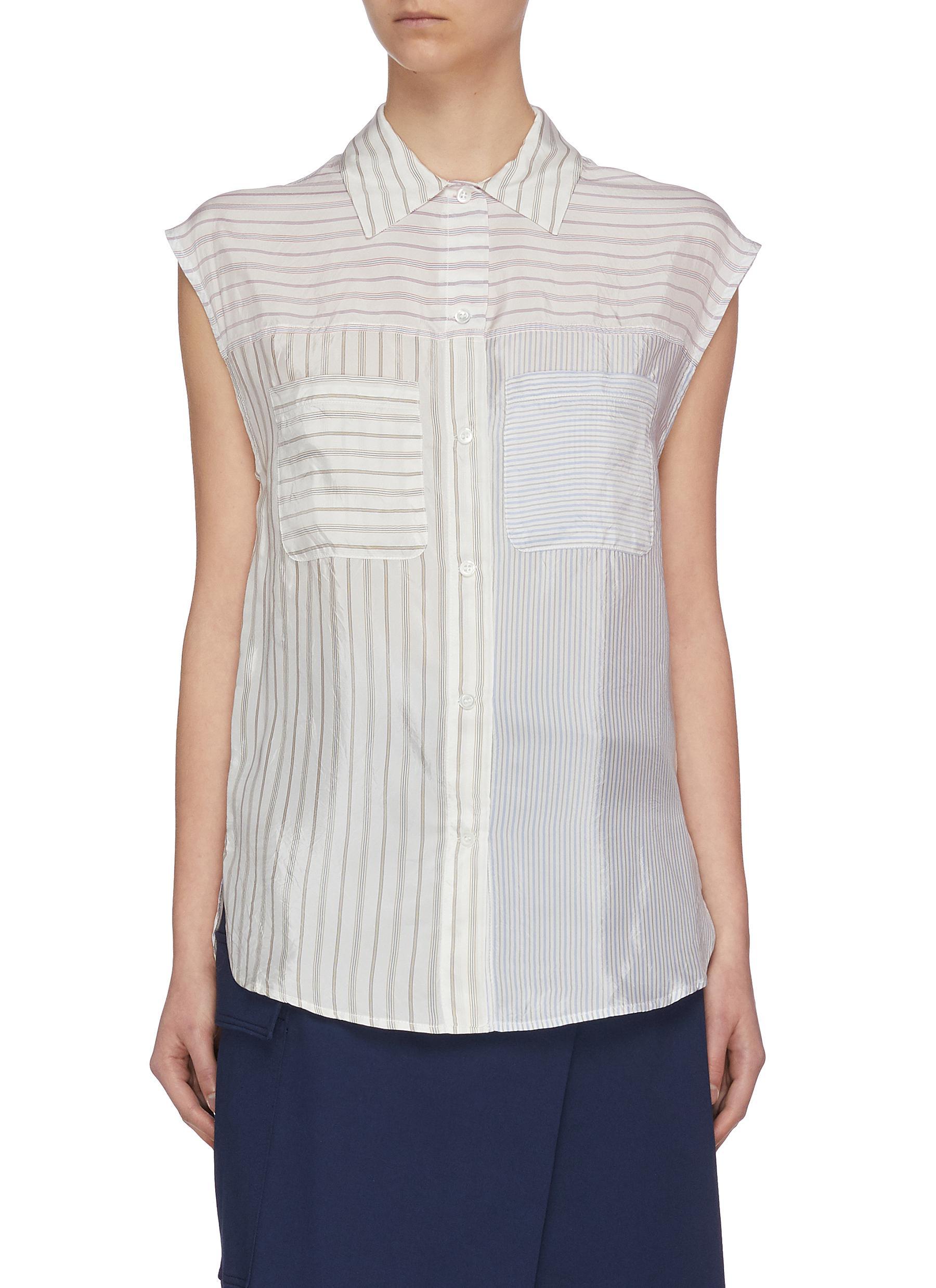 Buy Barena Tops 'Euclide' Collaged Pinstripe Shirt