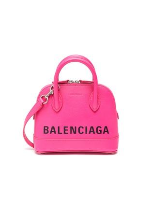 Main View - Click To Enlarge - BALENCIAGA - 'Ville' XXS logo leather top handle bag