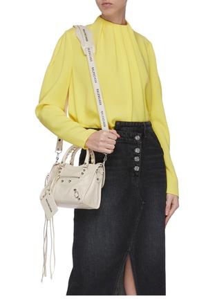 Front View - Click To Enlarge - BALENCIAGA - 'Classic City' logo strap mini leather shoulder bag