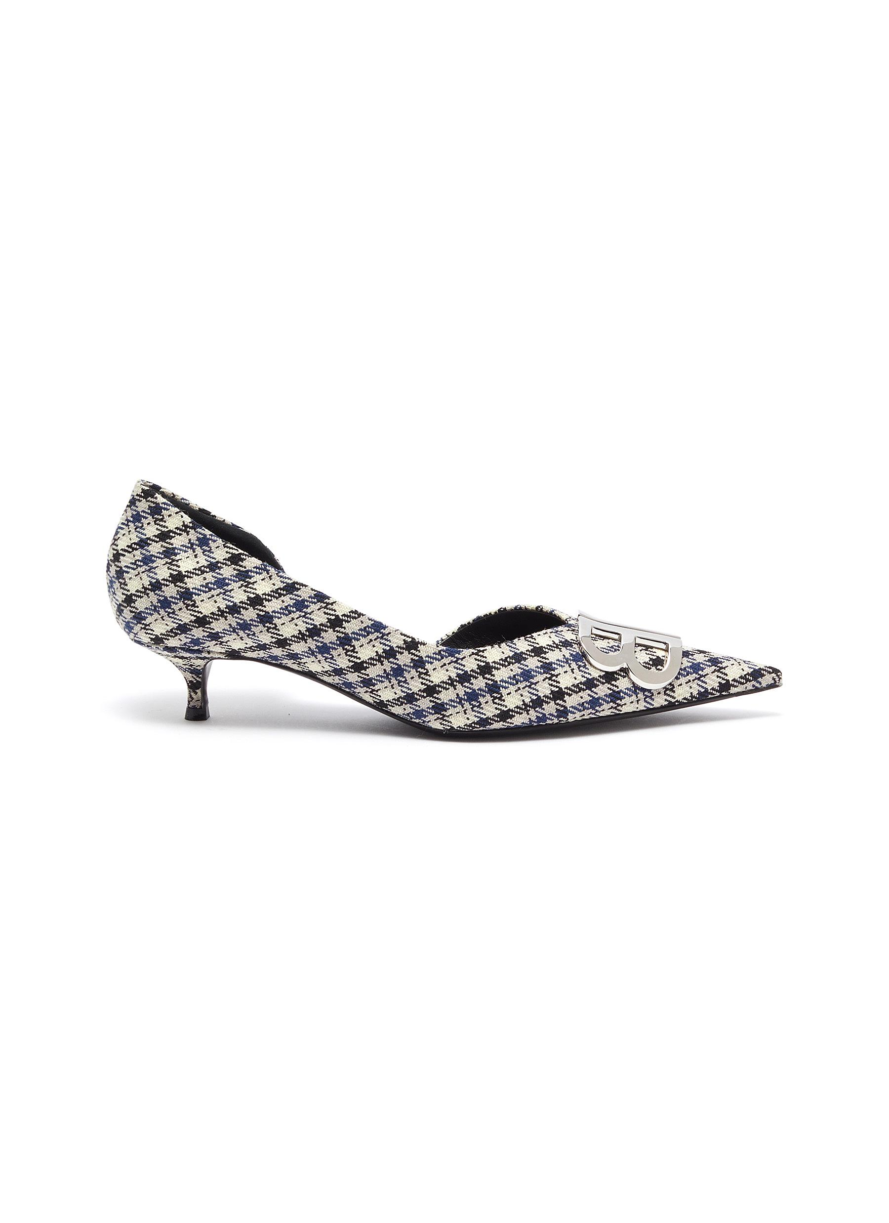 Balenciaga Low Heels DOrsay BB logo embellished check pumps