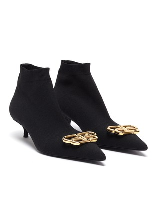 Detail View - Click To Enlarge - BALENCIAGA - 'Knife' BB logo embellished knit ankle boots