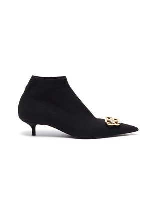 Main View - Click To Enlarge - BALENCIAGA - 'Knife' BB logo embellished knit ankle boots