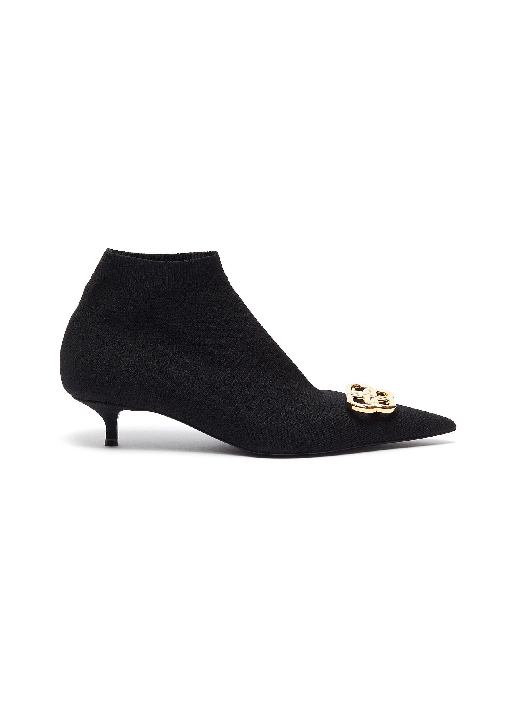 Balenciaga Boots Knife BB logo embellished knit ankle boots