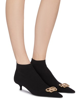 Figure View - Click To Enlarge - BALENCIAGA - 'Knife' BB logo embellished knit ankle boots