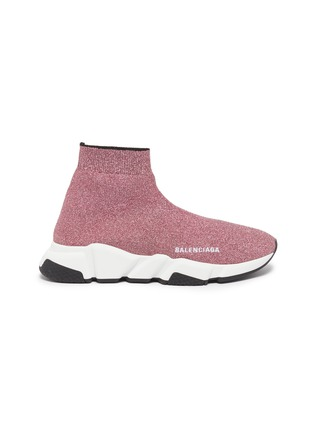 Main View - Click To Enlarge - BALENCIAGA - 'Speed' bicolour glitter knit sneakers