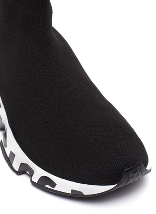 Detail View - Click To Enlarge - BALENCIAGA - 'Speed' graffiti sole knit sneakers