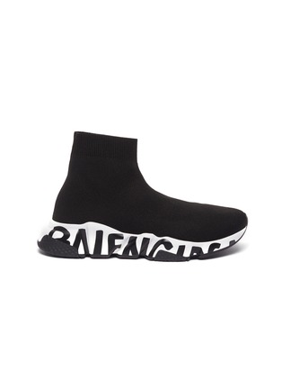Main View - Click To Enlarge - BALENCIAGA - 'Speed' graffiti sole knit sneakers