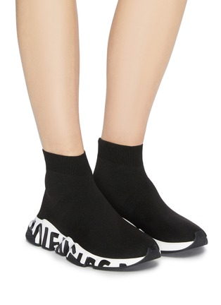 Figure View - Click To Enlarge - BALENCIAGA - 'Speed' graffiti sole knit sneakers