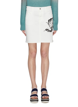 Main View - Click To Enlarge - STELLA MCCARTNEY - Horse embroidered denim skirt
