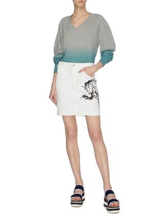 Figure View - Click To Enlarge - STELLA MCCARTNEY - Horse embroidered denim skirt