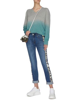 Figure View - Click To Enlarge - STELLA MCCARTNEY - Logo stripe outseam boyfriend jeans