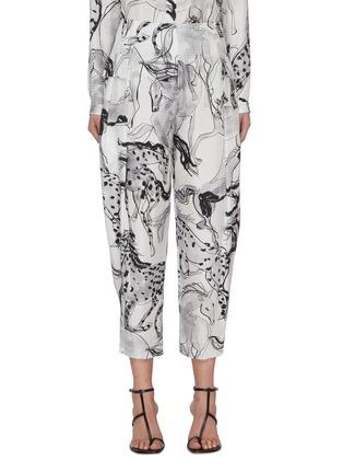 Main View - Click To Enlarge - STELLA MCCARTNEY - 'Rosalinda' horse print silk cropped pants