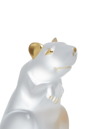 Detail View - Click To Enlarge - LALIQUE - Rat Clear and Gold Stamped Crystal Sculpture