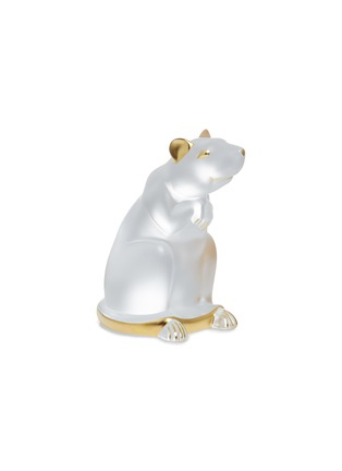 Main View - Click To Enlarge - LALIQUE - Rat Clear and Gold Stamped Crystal Sculpture