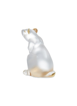 - LALIQUE - Rat Clear and Gold Stamped Crystal Sculpture
