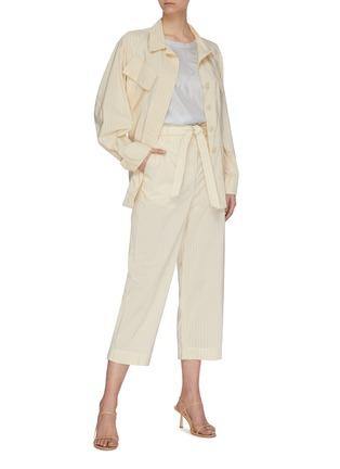 Figure View - Click To Enlarge - BARENA - 'Vanna Gess Cupro' belted pinstripe cargo pocket jacket