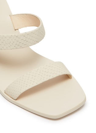 Detail View - Click To Enlarge - CULT GAIA - 'Meta' stacked pebble heel snake embossed leather sandals