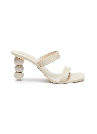 Main View - Click To Enlarge - CULT GAIA - 'Meta' stacked pebble heel snake embossed leather sandals