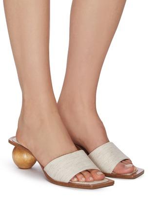 Figure View - Click To Enlarge - CULT GAIA - 'Tao' wooden heel linen sandals