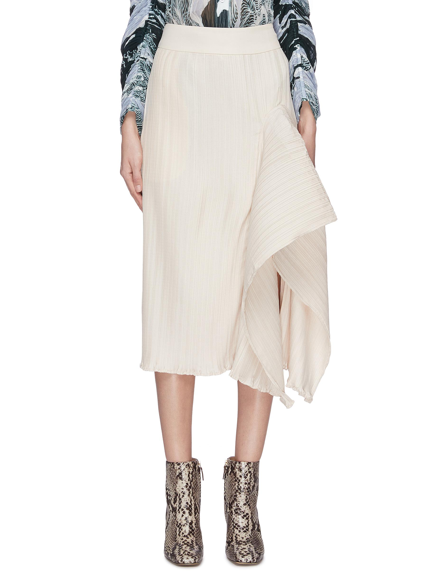 shop Maya Li Asymmetric hem spliced ruffle skirt online