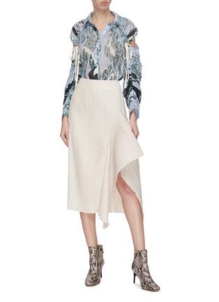 Figure View - Click To Enlarge - MAYA LI - Asymmetric hem spliced ruffle skirt