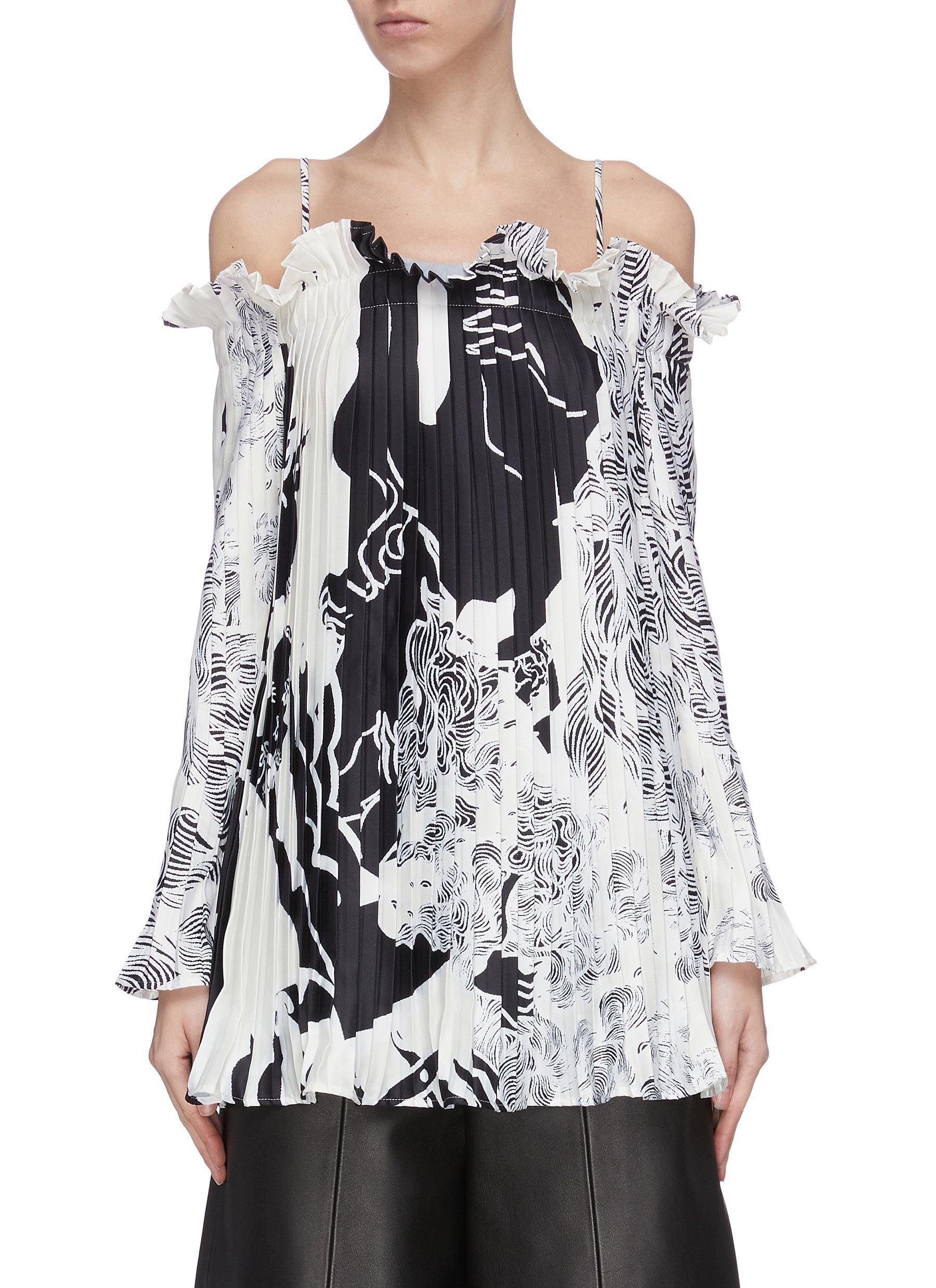 shop Maya Li Graphic print ruffle pleated blouse online