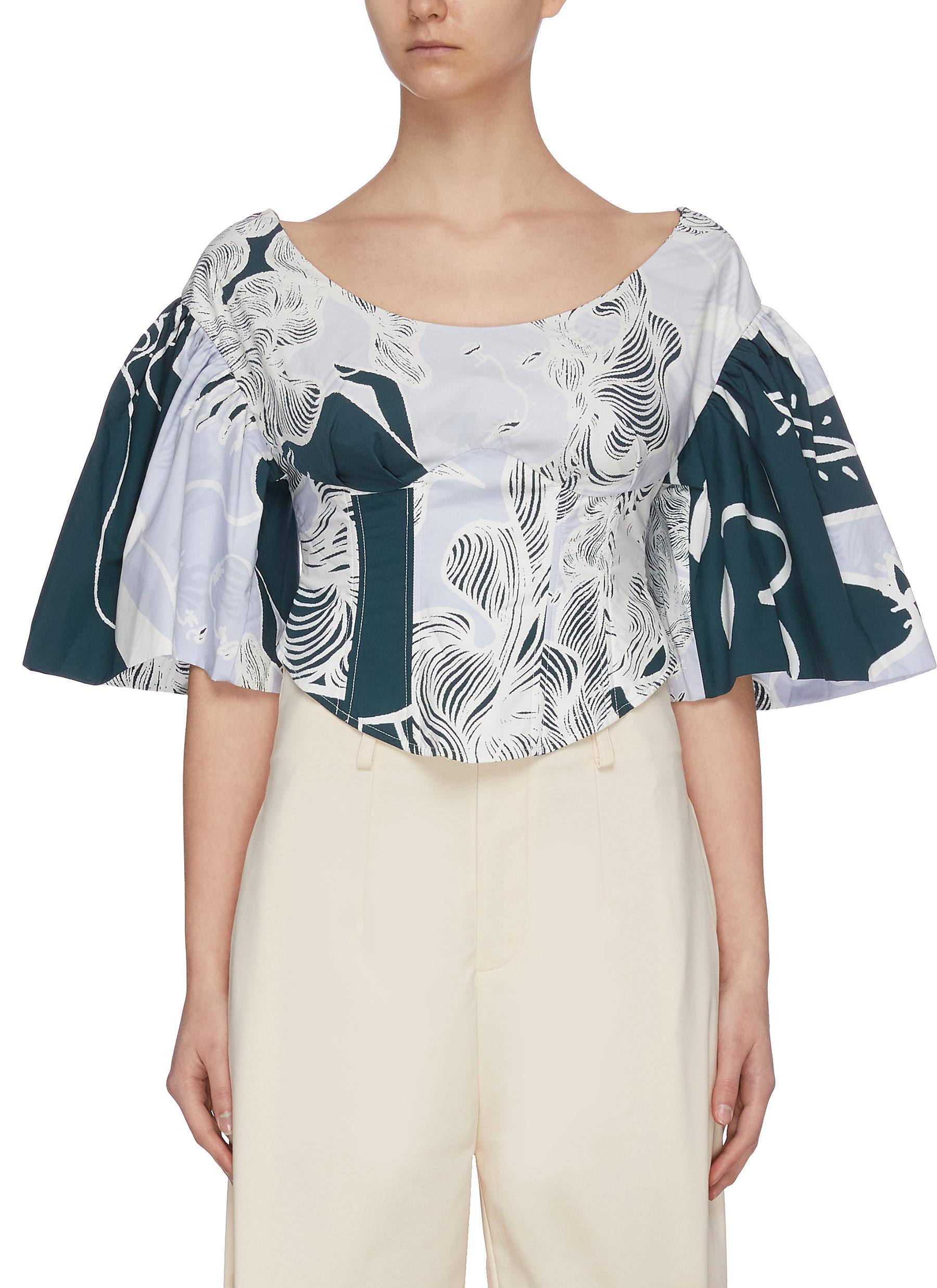 shop Maya Li Evening haze print puff sleeve corset top online
