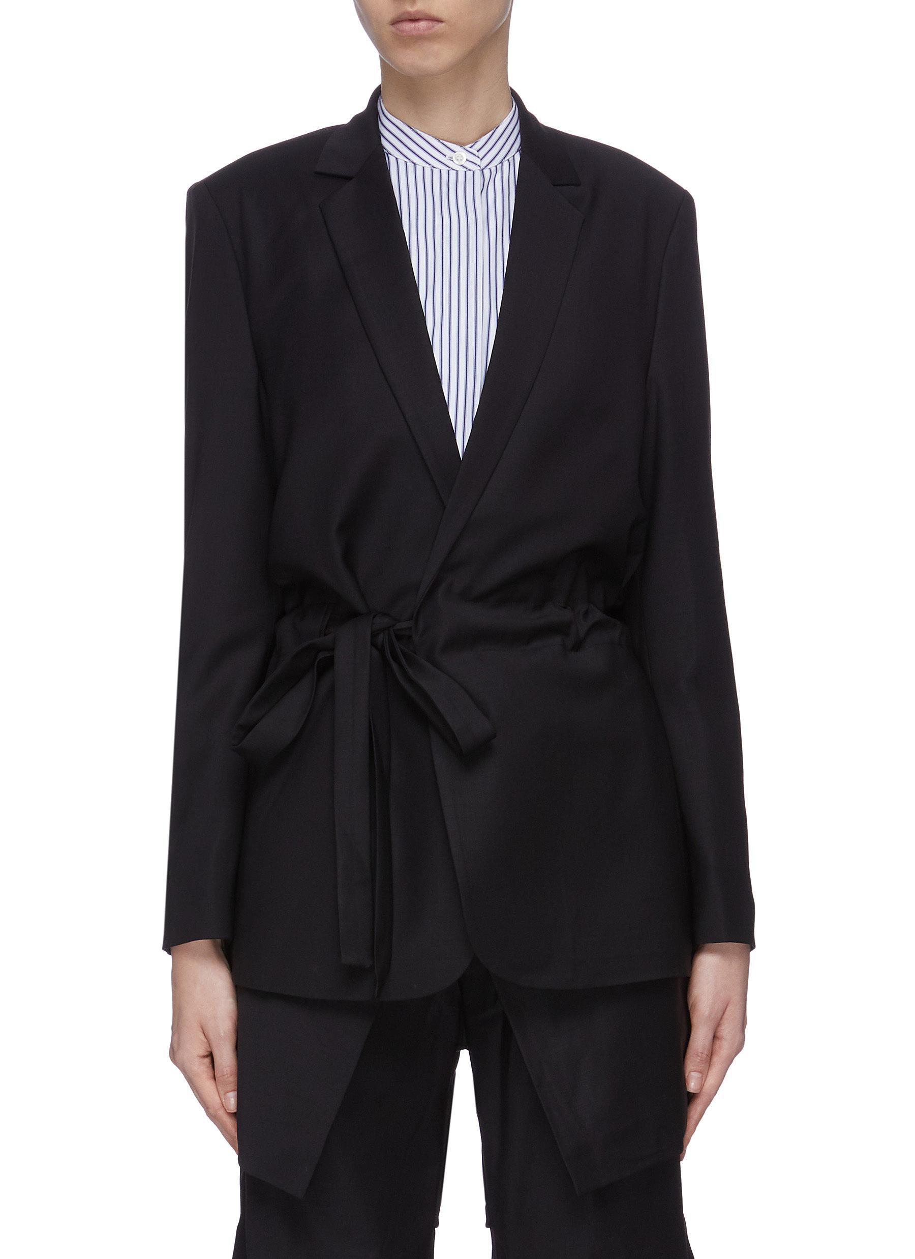 Buy Ffixxed Studios Blazers 'Wutong' notch lapel belted wool-blend blazer