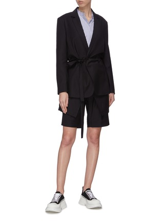 Figure View - Click To Enlarge - FFIXXED STUDIOS - 'Wutong' notch lapel belted wool-blend blazer