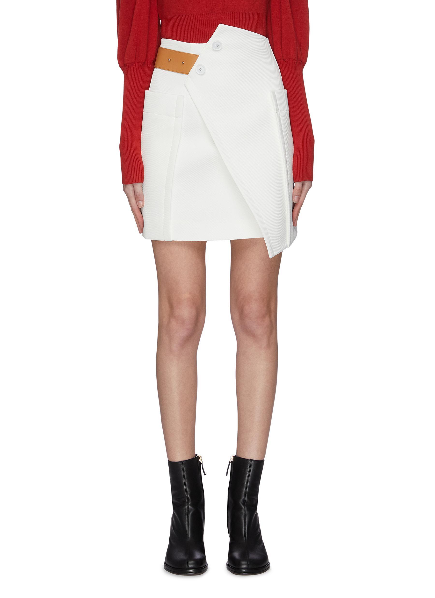 shop Comme Moi Contrast belt asymmetric panel skirt online