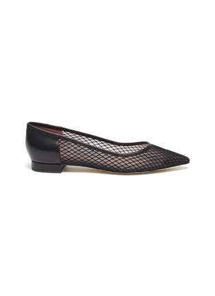 Main View - Click To Enlarge - PEDDER RED - 'Alexia' fishnet mesh leather skimmer flats