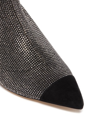 Detail View - Click To Enlarge - PEDDER RED - 'Bonita' panel toe cap strass sock knit ankle boots