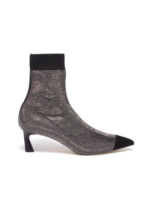 Main View - Click To Enlarge - PEDDER RED - 'Bonita' panel toe cap strass sock knit ankle boots