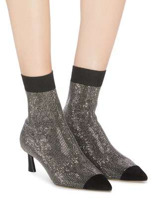 Figure View - Click To Enlarge - PEDDER RED - 'Bonita' panel toe cap strass sock knit ankle boots