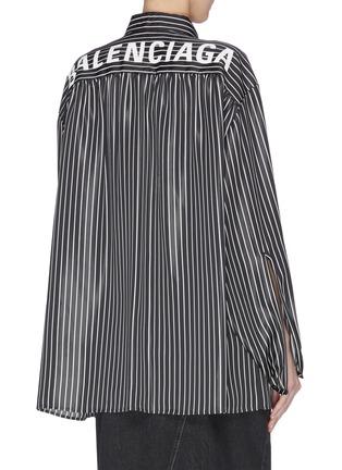 Back View - Click To Enlarge - BALENCIAGA - Neck tie stripe blouse