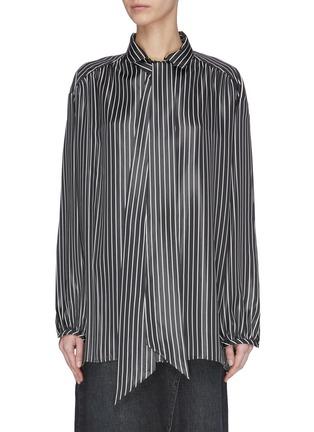 Main View - Click To Enlarge - BALENCIAGA - Neck tie stripe blouse