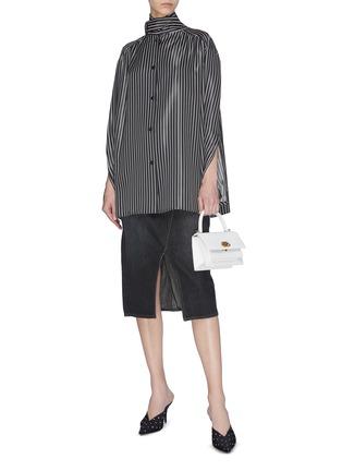Figure View - Click To Enlarge - BALENCIAGA - Neck tie stripe blouse