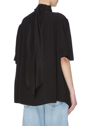 Back View - Click To Enlarge - BALENCIAGA - Mock neck button-down silk crepe blouse