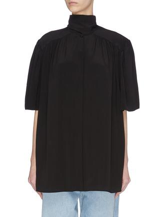 Main View - Click To Enlarge - BALENCIAGA - Mock neck button-down silk crepe blouse