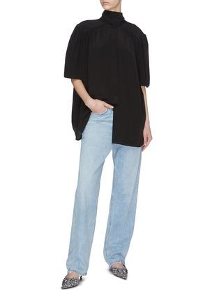 Figure View - Click To Enlarge - BALENCIAGA - Mock neck button-down silk crepe blouse