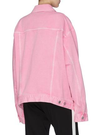 Back View - Click To Enlarge - BALENCIAGA - Logo embroidered denim jacket
