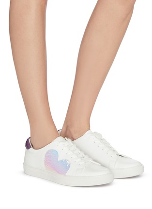 Figure View - Click To Enlarge - PEDDER RED - Iridescent heart appliqué sneakers