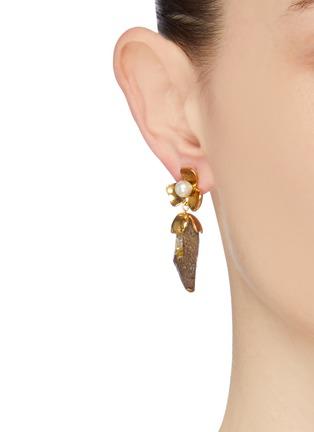 Figure View - Click To Enlarge - OSCAR DE LA RENTA - Swarovski crystal pearl floral earrings