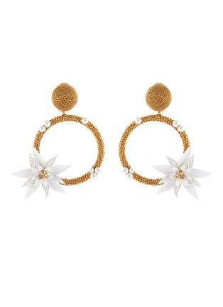 Main View - Click To Enlarge - OSCAR DE LA RENTA - Flower embellished woven hoop earrings