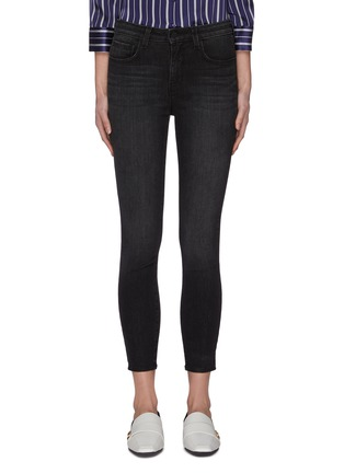 Main View - Click To Enlarge - L'AGENCE - 'Margot' dark wash whiskering skinny jeans