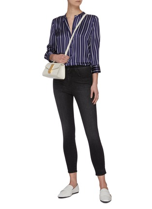 Figure View - Click To Enlarge - L'AGENCE - 'Margot' dark wash whiskering skinny jeans