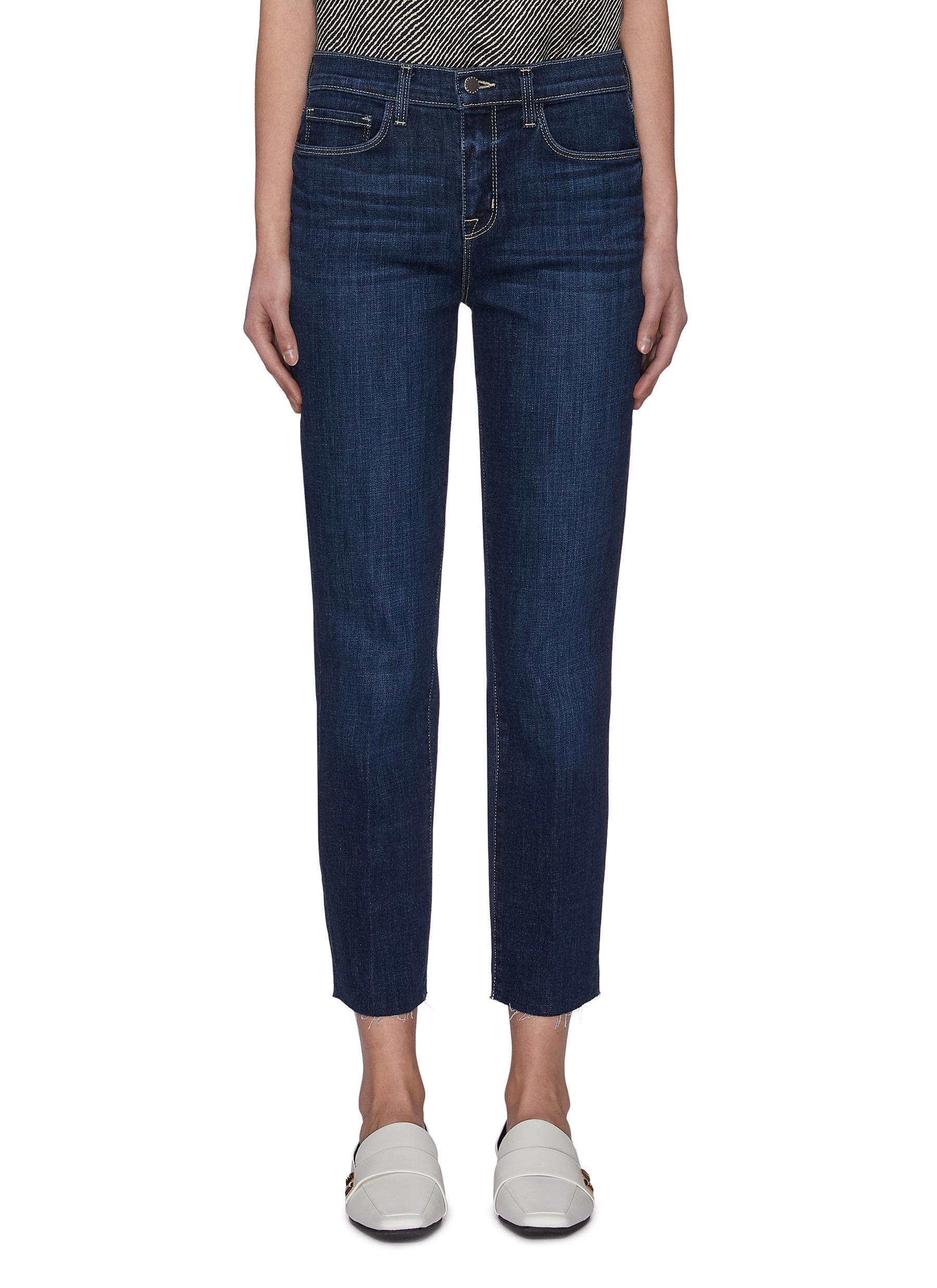 shop L'Agence 'Sada' frayed hem crop slim fit jeans online