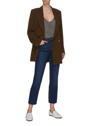 Figure View - Click To Enlarge - L'AGENCE - 'Sada' frayed hem crop slim fit jeans